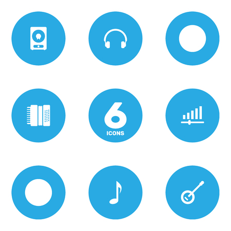 Set Of 6 Melody Icons Set.Collection Of Knob, Earphones, Tone Symbol And Other Elements.
