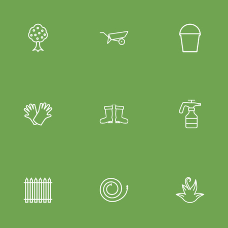 Set Of 9 Horticulture Outline Icons Set.Collection Of Firehose, Palisade, Safer Of Hand Elements.