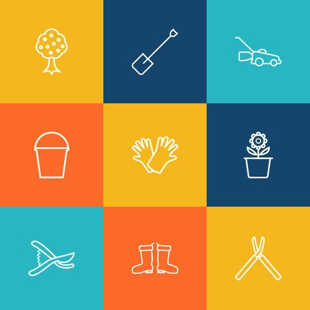 weeds: Set Of 9 Household Outline Icons Set.Collection Of Safer Of Hand , Pail, Grass-Cutter Elements.