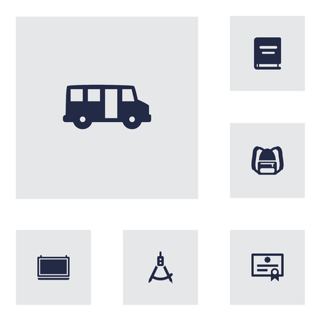 Set Of 6 Science Icons Set.Collection Of Blackboard, Textbook, School Autobus And Other Elements.