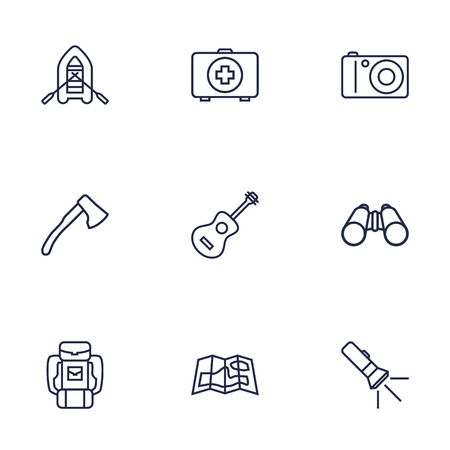firstaid: Set Of 9 Picnic Outline Icons Set.Collection Of Guitar, Baggage, Binoculars And Other Elements. Illustration