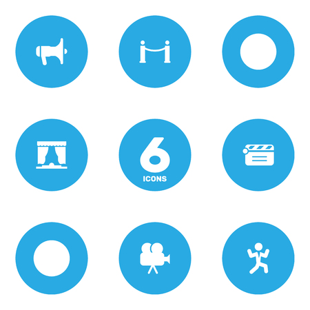 cinema screen: Set Of 6 Amusement Icons Set.Collection Of Curtain, Cinema Fence, Camera And Other Elements.
