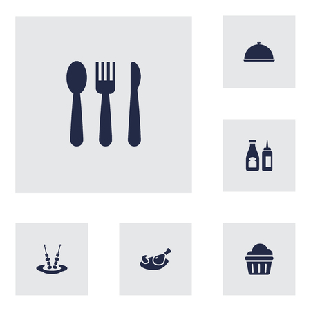 Set Of 6 Bar Icons Set.Collection Of Sweet, Silverware, Tray And Other Elements.