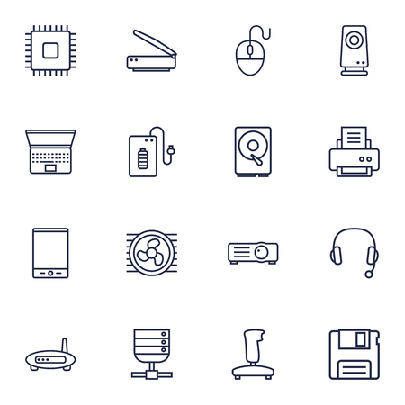 computerized: Set Of 16 Computer Outline Icons Set.Collection Of Projector, Tablet, Scanner And Other Elements. Illustration
