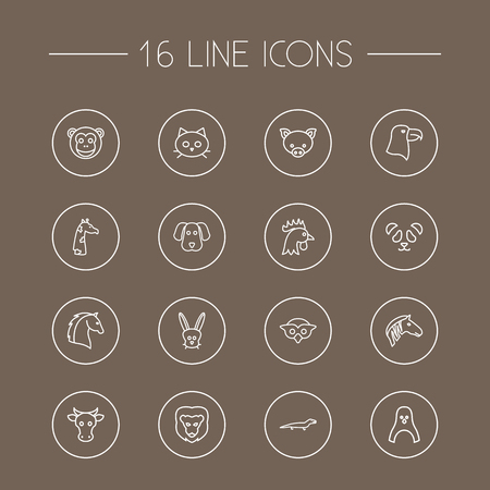 camelopard: Set Of 16 Alive Outline Icons Set.Collection Of Horse, Owl, Eagle And Other Elements. Illustration