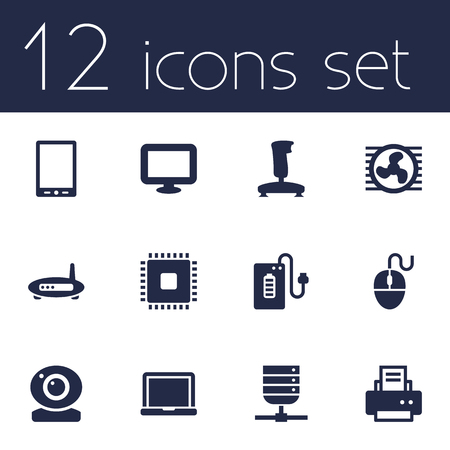 palmtop: Set Of 12 Notebook Icons Set.Collection Of Peripheral, Palmtop, Joystick And Other Elements. Illustration