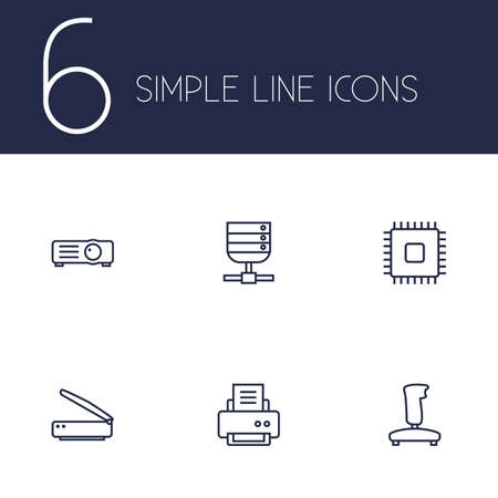 Set Of 6 Laptop Outline Icons Set.Collection Of Gamepad, Server, Printer And Other Elements. Stock Vector - 77157129