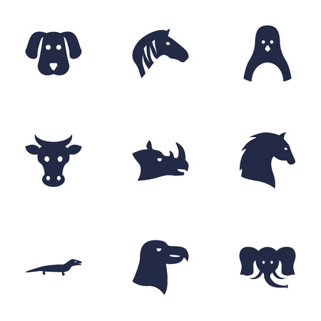 steed: Set Of 9 Alive Icons Set.Collection Of Rhinoceros, Steed, Hound And Other Elements. Illustration