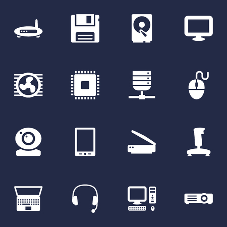 Set Of 16 Notebook Icons Set.Collection Of Hard Disk, Show, Joystick And Other Elements. Illustration