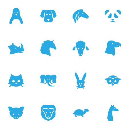 Set Of 16 Brute Icons Set.Collection Of Bunny, Bear, Wildcat And Other Elements.