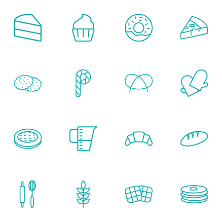 Set Of 16 Cook Outline Icons Set.Collection Of Candy Cane, Pizza, Donuts Elements.