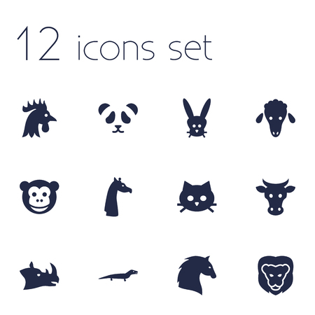 Set Of 12 Alive Icons Set.Collection Of Rhinoceros, Ape, Lamb And Other Elements.