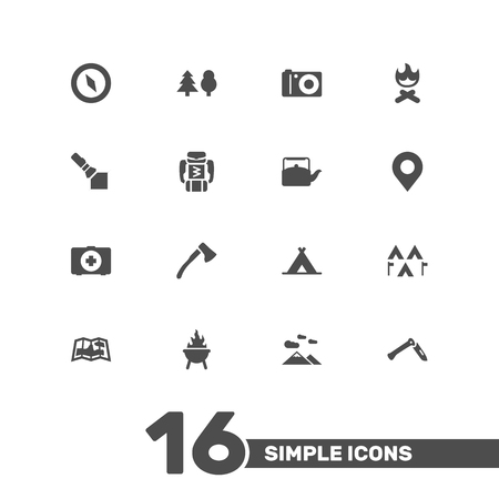foldable: Set Of 16 Camping Icons Set.Collection Of Kettle, Campfire, Wood Axe And Other Elements.