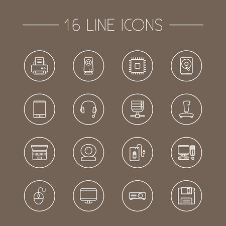 computerized: Set Of 16 Laptop Outline Icons Set.Collection Of Headphone, Floppy, Printer And Other Elements.
