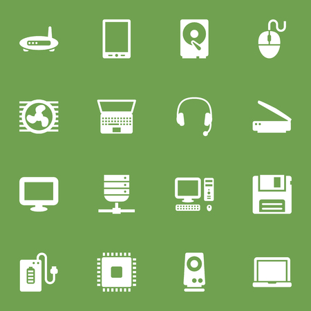 palmtop: Set Of 16 Computer Icons Set.Collection Of Router, Photocopy, Palmtop And Other Elements.
