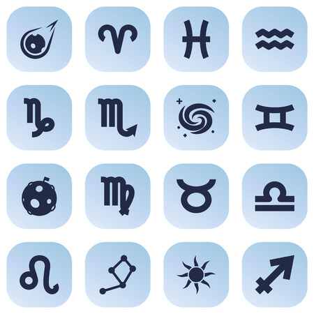 Set Of 16 Horoscope Icons Set.Collection Of Bull, Horoscope, Fishes And Other Elements.