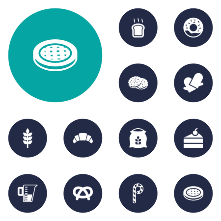 Set Of 12 Bakery Icons Set.Collection Of Slice Bread, Snack, Cake And Other Elements.