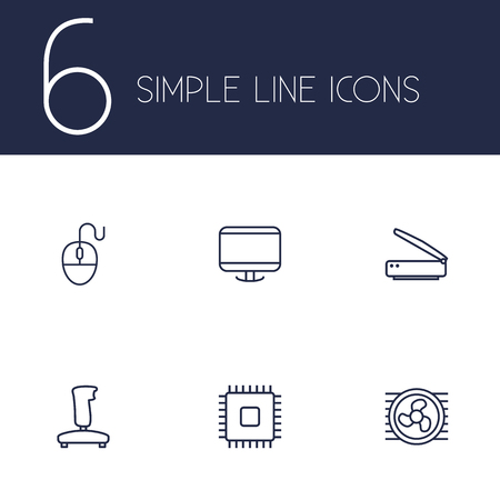 typesetter: Set Of 6 Laptop Outline Icons Set.Collection Of Computer Mouse, Cpu, Gamepad And Other Elements. Illustration