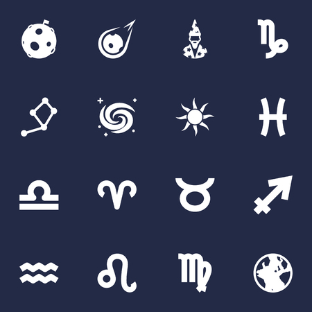 Set Of 16 Galaxy Icons Set.Collection Of Augur, Ram, Earth Planet And Other Elements.