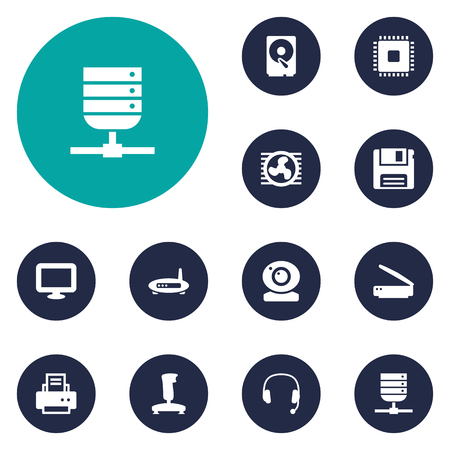 Set Of 12 Laptop Icons Set.Collection Of Microprocessor, Peripheral, Hard Disk And Other Elements.