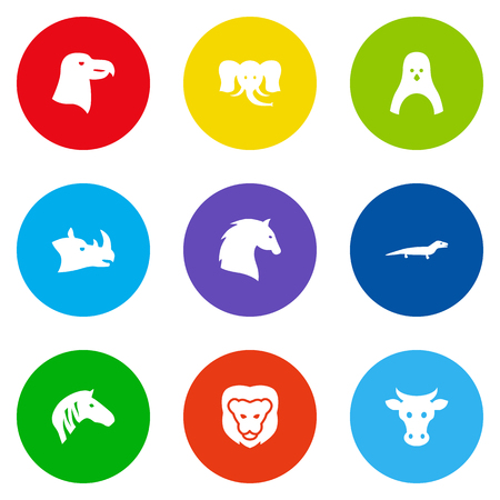 Set Of 9 Beast Icons Set.Collection Of Aquila, Horse, Rhinoceros And Other Elements.