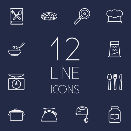 rasp: Set Of 12 Culinary Outline Icons Set.Collection Of Hat, Skillet, Pan And Other Elements.