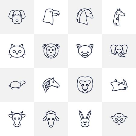 Set Of 16 Beast Outline Icons Set.Collection Of Lion, Rhino, Cat And Other Elements.