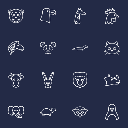brute: Set Of 16 Brute Outline Icons Set.Collection Of Eagle, Owl, Monkey And Other Elements.