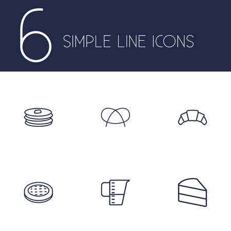 bretzel: Set Of 6 Bakery Outline Icons Set.Collection Of Apple Pie, Pancakes, Pretzel And Other Elements.