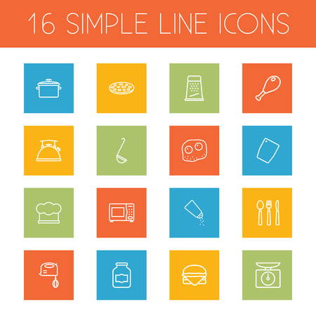 rasp: Set Of 16 Kitchen Outline Icons Set.Collection Of Jug, Chicken Leg, Ladle And Other Elements. Illustration