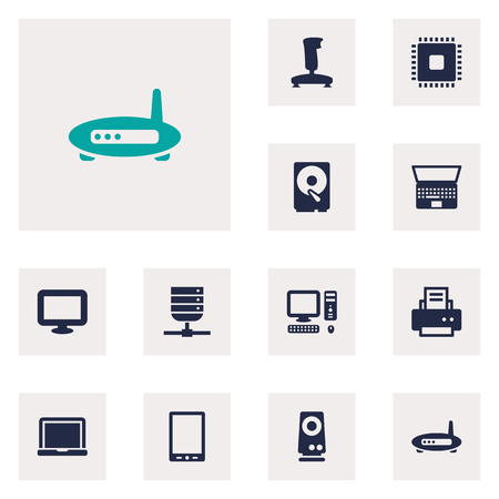 palmtop: Set Of 12 Notebook Icons Set.Collection Of Palmtop, Joystick, Laptop And Other Elements.