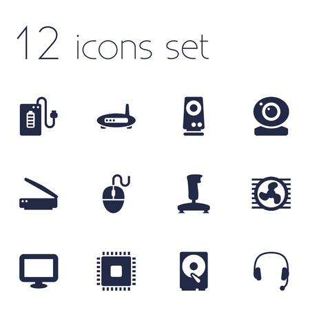 typesetter: Set Of 12 Laptop Icons Set.Collection Of Headset, Photocopy, Joystick And Other Elements.
