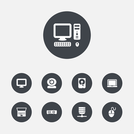 computerized: Set Of 9 Laptop Icons Set.Collection Of Datacenter, Hard Disk, Computer And Other Elements.