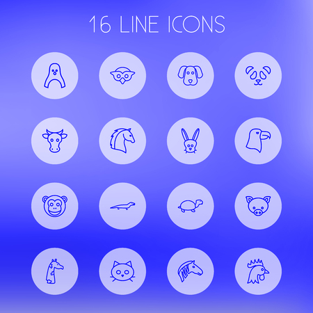 camelopard: Set Of 16 Alive Outline Icons Set.Collection Of Pig, Eagle, Giraffe And Other Elements. Illustration
