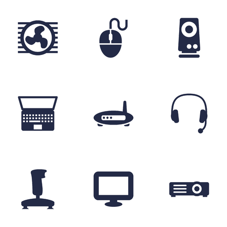 Set Of 9 Notebook Icons Set.Collection Of Headset, Fan, Joystick And Other Elements. Illustration