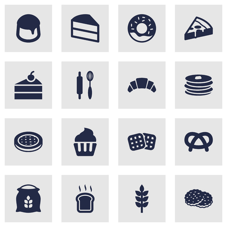 bretzel: Set Of 16 Cook Icons Set.Collection Of Doughnut, Pastry, Whisk And Other Elements.