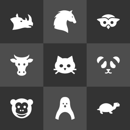 kine: Set Of 9 Alive Icons Set.Collection Of Kine, Rhinoceros, Tortoise And Other Elements.