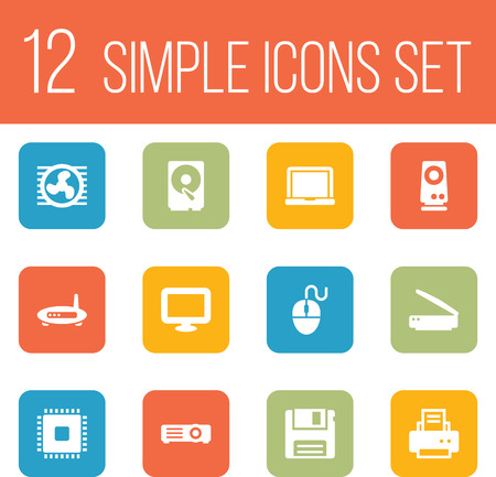 computerized: Set Of 12 Notebook Icons Set.Collection Of Diskette, Hard Disk, Display And Other Elements.