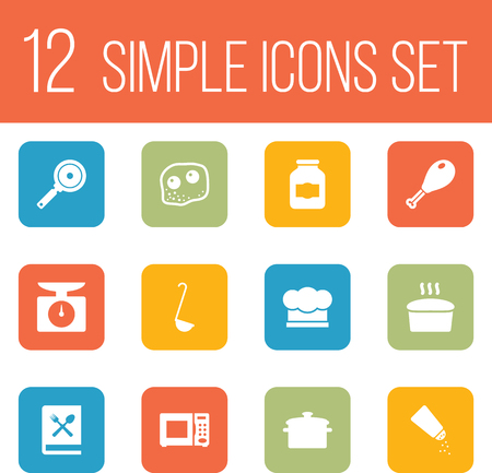 Set Of 12 Kitchen Icons Set.Collection Of Eggs, Loaf, Chef Cap And Other Elements.