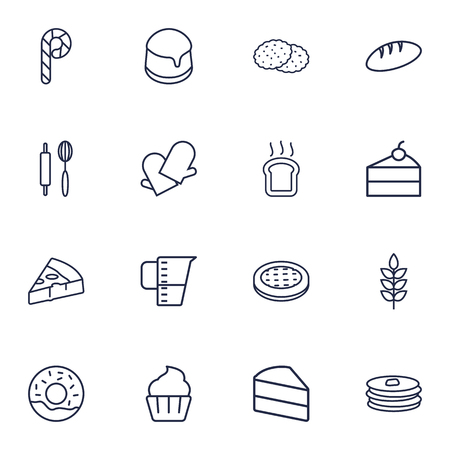 wholemeal: Set Of 16 Oven Outline Icons Set.Collection Of Donuts, Toast, Cheesecake And Other Elements.