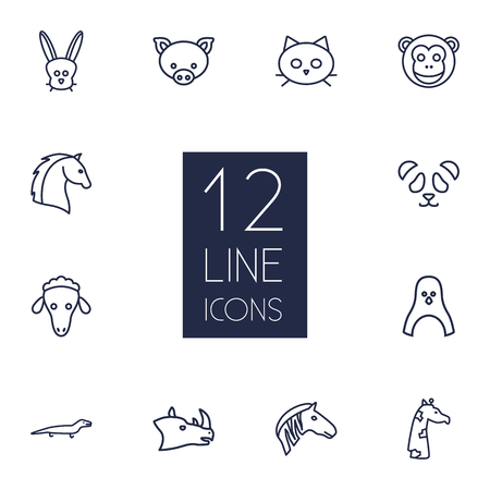 Set Of 12 Beast Outline Icons Set.Collection Of Horse, Feline Bear, Pig And Other Elements.