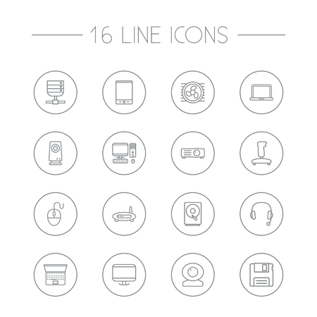 Set Of 16 Computer Outline Icons Set.Collection Of Projector, Gamepad, Headphone And Other Elements. Illustration