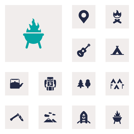 pack string: Set Of 12 Camping Icons Set.Collection Of Jackknife, Acoustic, Tent And Other Elements.