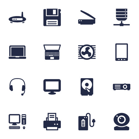hdtv: Set Of 16 Laptop Icons Set.Collection Of Peripheral, Headset, Datacenter And Other Elements.