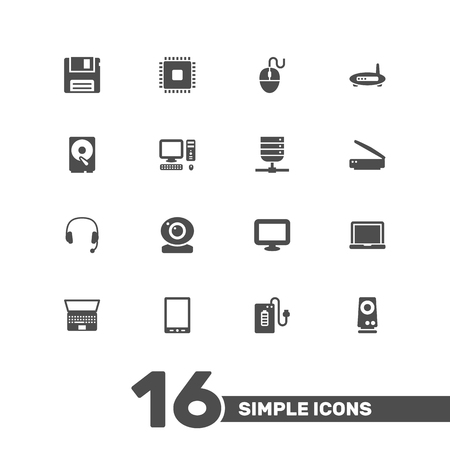typesetter: Set Of 16 Notebook Icons Set.Collection Of Router, Record, Datacenter And Other Elements.