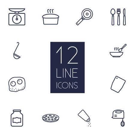 Set Di 12 Set di icone di cucina Set.Collection di pane, scale, tagliere e altri elementi.