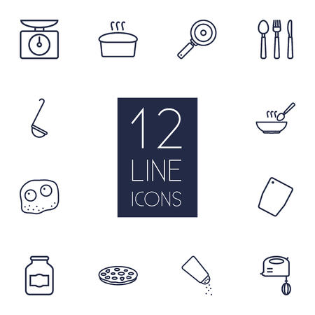 Set Of 12 Kitchen Outline Icons Set.Collection Of Bread, Scales, Chopping Board And Other Elements.