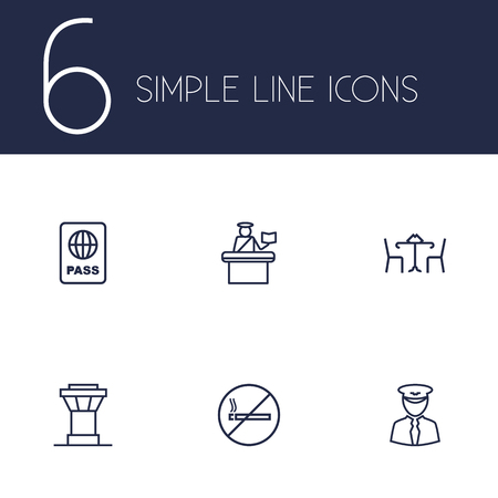 food poison: Set Of 6 Land Outline Icons Set.Collection Of Pilot, Cafe, Certification And Other Elements.