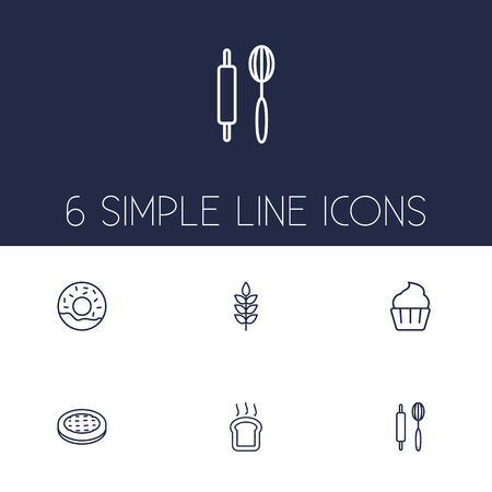 Set Of 6  Outline Icons Set.Collection Of Apple Pie, Rolling Pin, Donuts And Other Elements.
