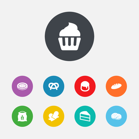 Set Of 9 Cook Icons Set.Collection Of Pastry, Cake, Muffin And Other Elements.